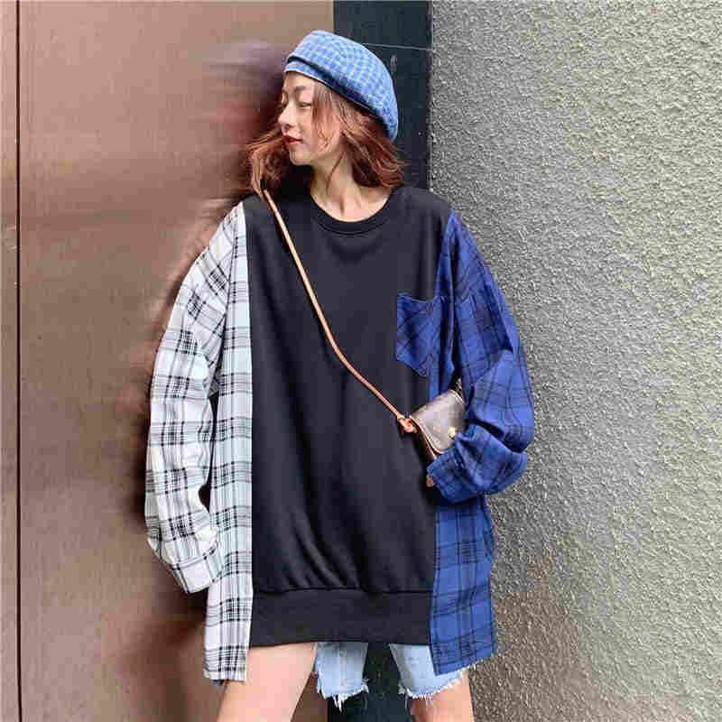 NiceMix bluza damska bluza nowy koreański Pop odzież Streetwear bluza damska Vintage kontrastowy kolor Top w kratkę