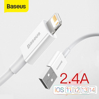 Baseus USB Cable For iPhone Cable 11 12 Pro Max Xs Xr X SE 8 7 6 Plus 6s Data Wire Cord Fast Charger Cable For iPad Air mini 4