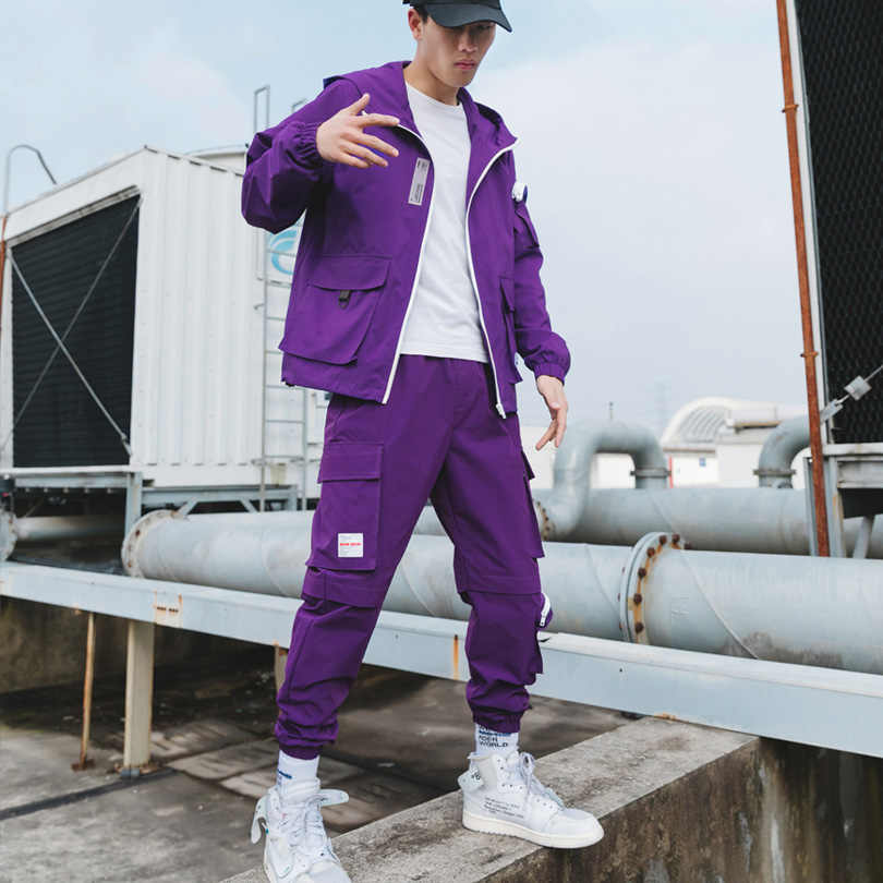Men's Fashion Sets Loose Comfortable Casual Jacket + Multi-pocket Cargo pants 2 pieces Set Fashion purple Cargo Sportswear Sets
