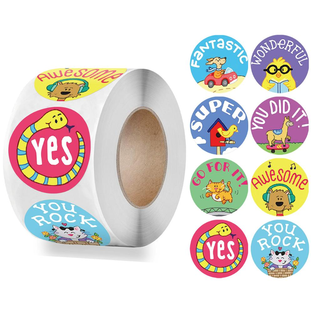 500 pcs/roll Cute Reward Stickers Cat Animal Stickers Encouragement Words for Students Kids School 1'' Motivational Stickers