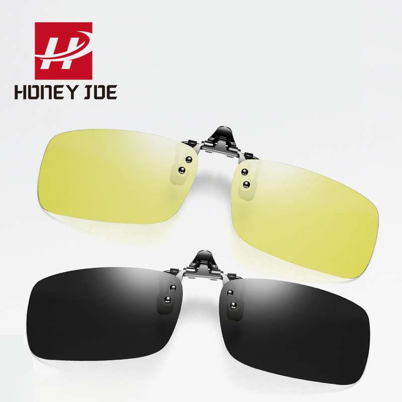 EE/_ Polarized Night Vision Driving UV 400 Clip-on Flip-up Lens Sunglasses Glasse