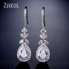 ZAKOL Shinny Water Drop CZ Zirconia Leaf Hook Dangle Earrings For Women Fashion Anniversary  Bridal Wedding Jewelry FSEP2315