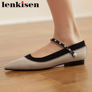 Lenkisen French romantic plus size full grain leather pointed toe low heel pearl decorations party beauty lady women pumps L89