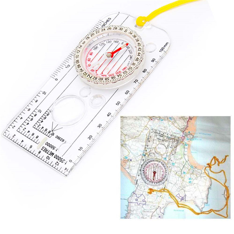 Multifunction Mini Ruler Map Scale Compass Tool Outdoor Camping Survival Navigation Map Ruler Edc Tool Hiking Accessories Ruler(China)