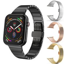 цена на Stainless Steel Metal Strap for Apple Watch band 42mm 38mm 40mm 44mm Butterfly Buckle Bracelet for iwatch Series 5 4 3 2 1 bands