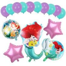 Balões de folha de sereia ariel of desenhos animados, balões de látex com número de desenho animado, decoração para aniversário infantil, brinquedos de festa, 1 conjunto
