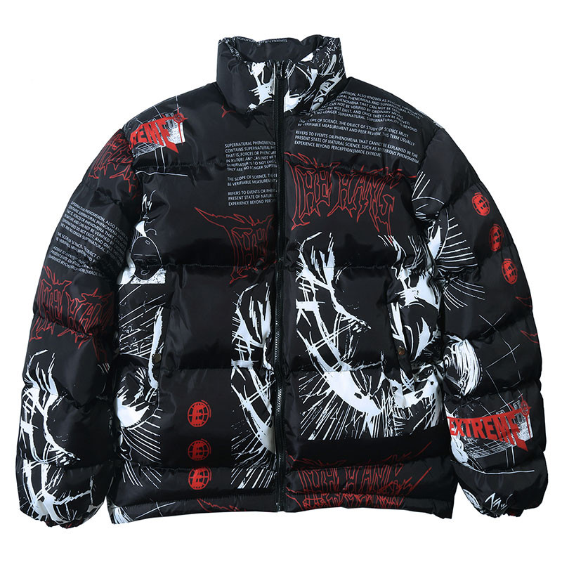 Winter Jacket Men Cool Letter Print Jacket Men Thick Warm Casual Cotton Padded Coat All-match Style Couple Streetwear