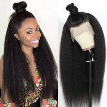 34 Inches Kinky Straight Lace Frontal Wig 250% 13x4 Lace Front Wig Peruvian Virgin Transparent