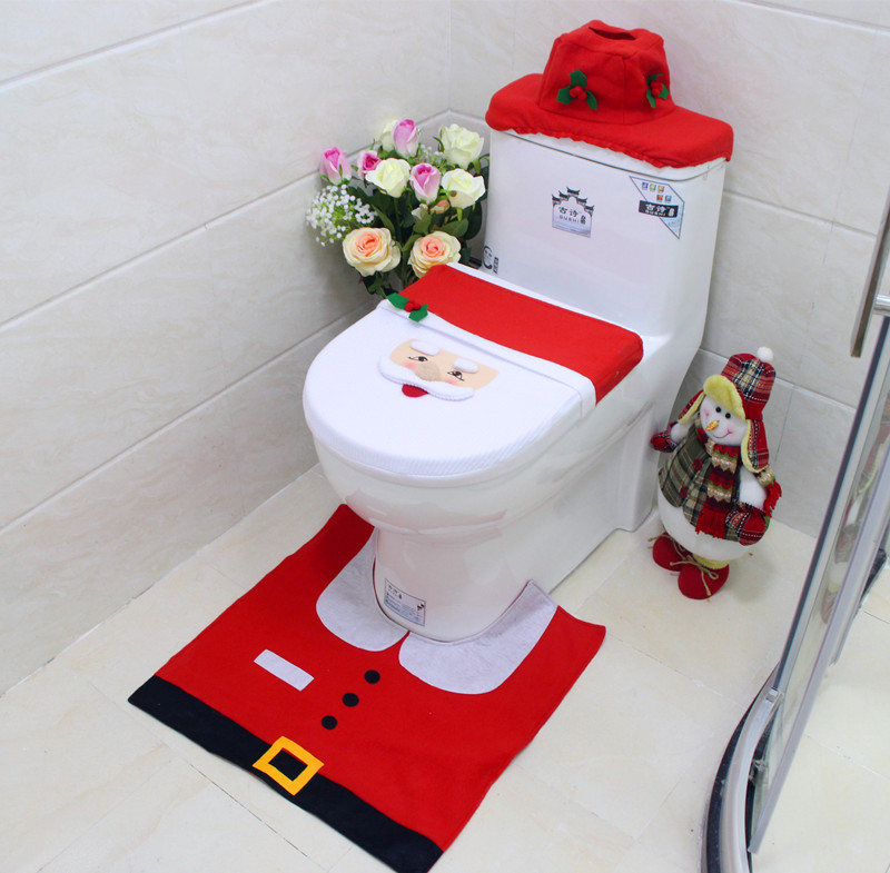 Christmas toilet cover cover Elderly snowman bathroom three-piece toilet toilet seat pad water tank cover paper towel set