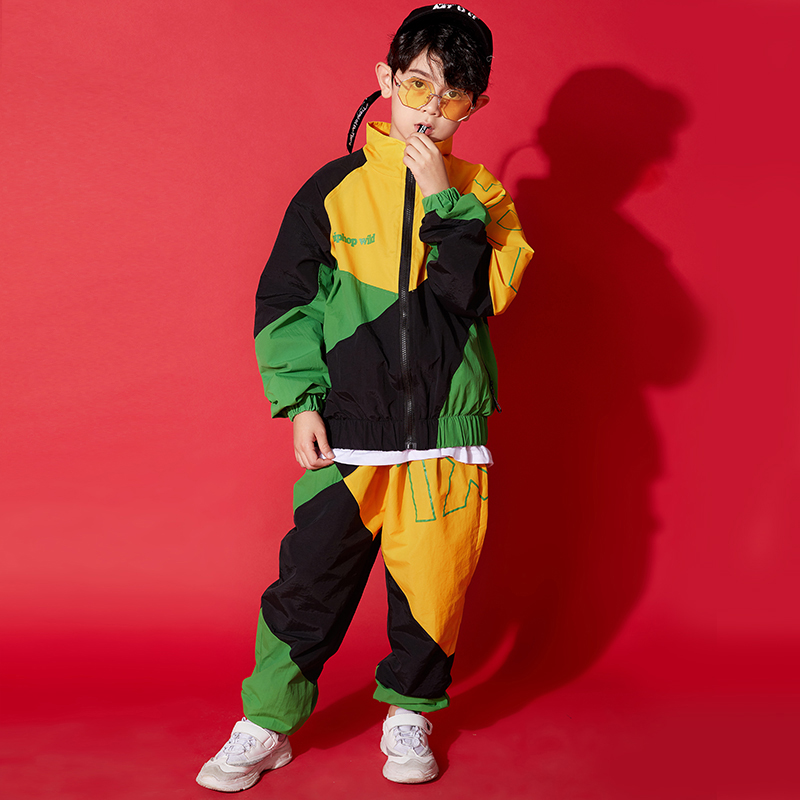 Loose Hip Hop Dance Costumes For Boys Stitching Street Dance Practice Wear Stage Rave Outfit  Jazz Performance Clothing DC3830