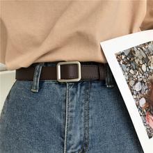 Kwadratowa klamra pas damski prosty pasek studencki w stylu Vintage dopasuj Fashion Casual bez otworu Cummerbunds tanie tanio FangNymph Kobiety Dla dorosłych PS15965 Stałe 3 2cm 105cm Na co dzień 5 9cm