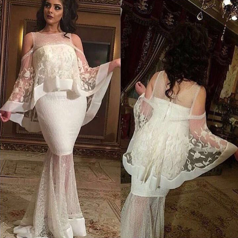 2018 Wedding Designer Jewel Cut The Shoulder Appliqued Mermaid Lace Prom Gown With Cape Mother Of The Bride Dress