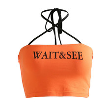 Women Sexy Letter Print Tube Top Cross Criss Halter Backless Bandeau Top Womens Streetwear Strapless Cropped Tube Tops цена 2017