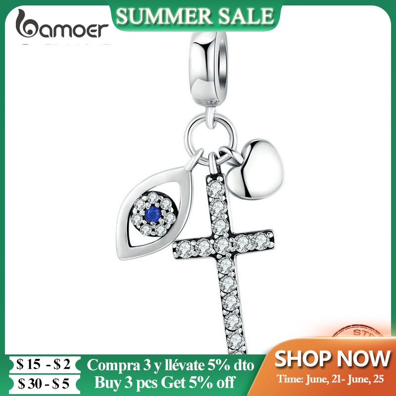 bamoer Multiple Guardian Eye Pendant Charm for Bracelet 925 Sterling Silver Corss Charm Silver 925 Original Jewelry SCC1327