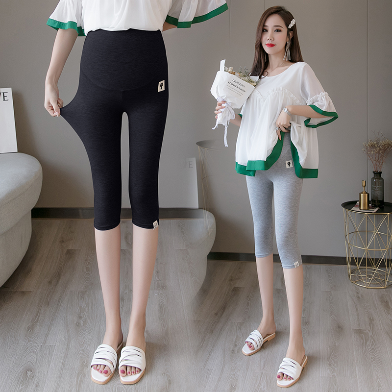 2906# High Waist Belly Maternity Legging Summer Thin Short Legging Clothes for Pregnant Women Cotton Modal Pregnancy Capris