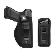 Coldre da arma da cintura com caixa de náilon da pistola do malote do mag para escondido carregam ajustes: s & w m & p escudo glock 17 19 23 26 27 42 43