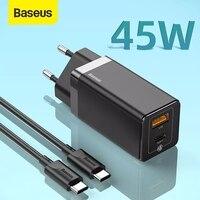 Baseus 45W GaN USB Schnell Ladegerät Für iPhone Unterstützung SCP QC 3,0 PD 3,0 Schnelle Lade Für Xiaomi Reise schnell Ladegerät Für Laptop