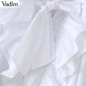 Image 4 - Vadim kadınlar chic papyon yaka beyaz bluz ruffles uzun kollu ofis giyim kadın gömlek zarif katı üst blusas LB379