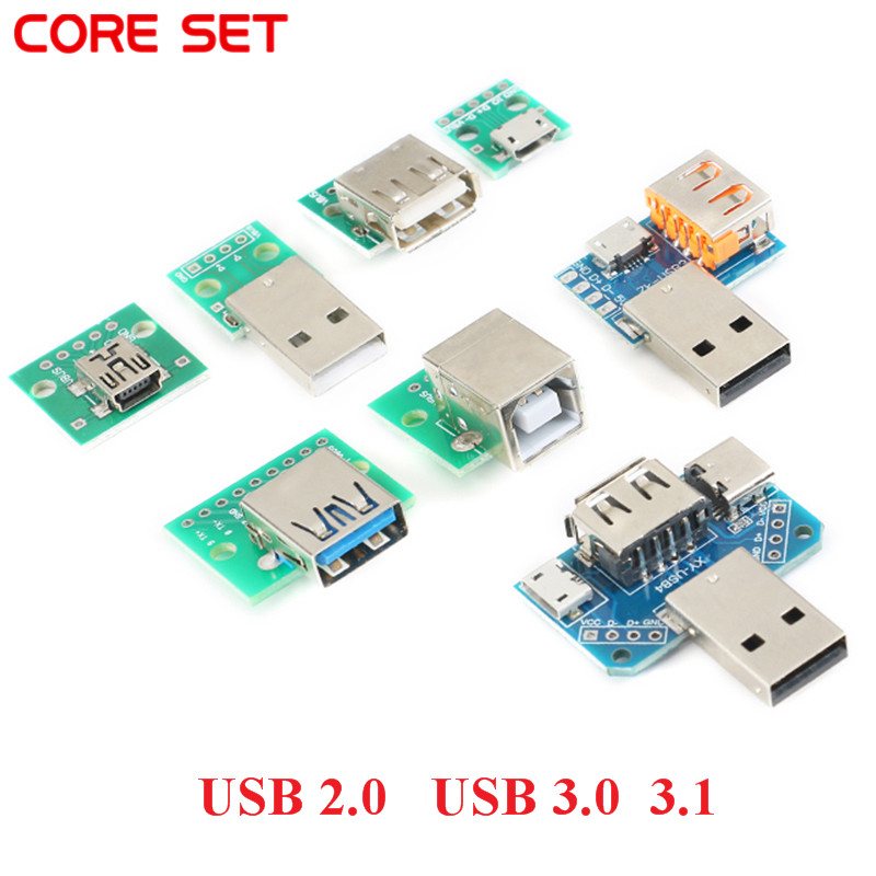 5PCS DIY USB 3.0 Male Connector / MINI MICRO USB To DIP Adapter 2.54mm 5pin Female Connector B Type USB2.0 Female PCB Converter