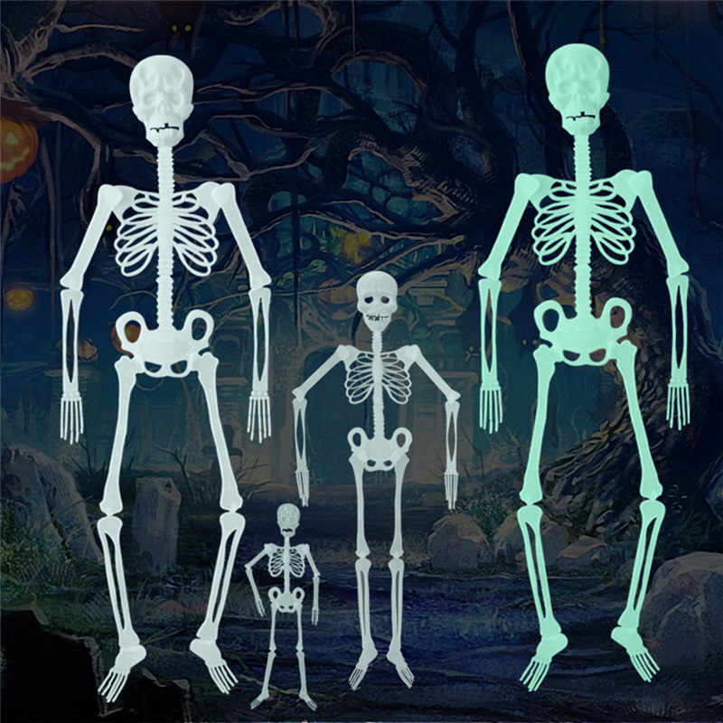 2019 New Scary Halloween Decoration Halloween Props Hanging Decoration Outdoor Party Horror Luminous Movable Skull Skeleton