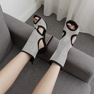 Image 5 - Pzilae Botas de tacón alto de aguja con punta abierta para mujer, botines, sandalias altas, adorno de cristal, para verano