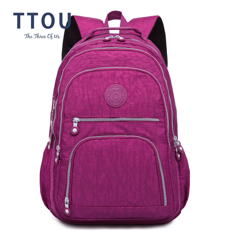 Ttou escola mochila para a menina adolescente feminina mochilas náilon à prova dwaterproof água casual portátil bagpack feminino sac a fazer