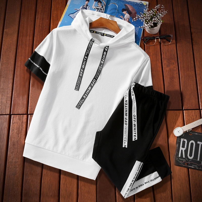 Cross Border For Summer Short-sleeved Leisure Sports Suit Men's Korean-style Teenager Hoodie Capri Pants Two-Piece Set
