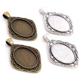 10 Uds 18x25mm tamaño Interior antiguo bronce plata colores estilo de flores camafeo cabujón Base ajuste colgante collar hallazgos