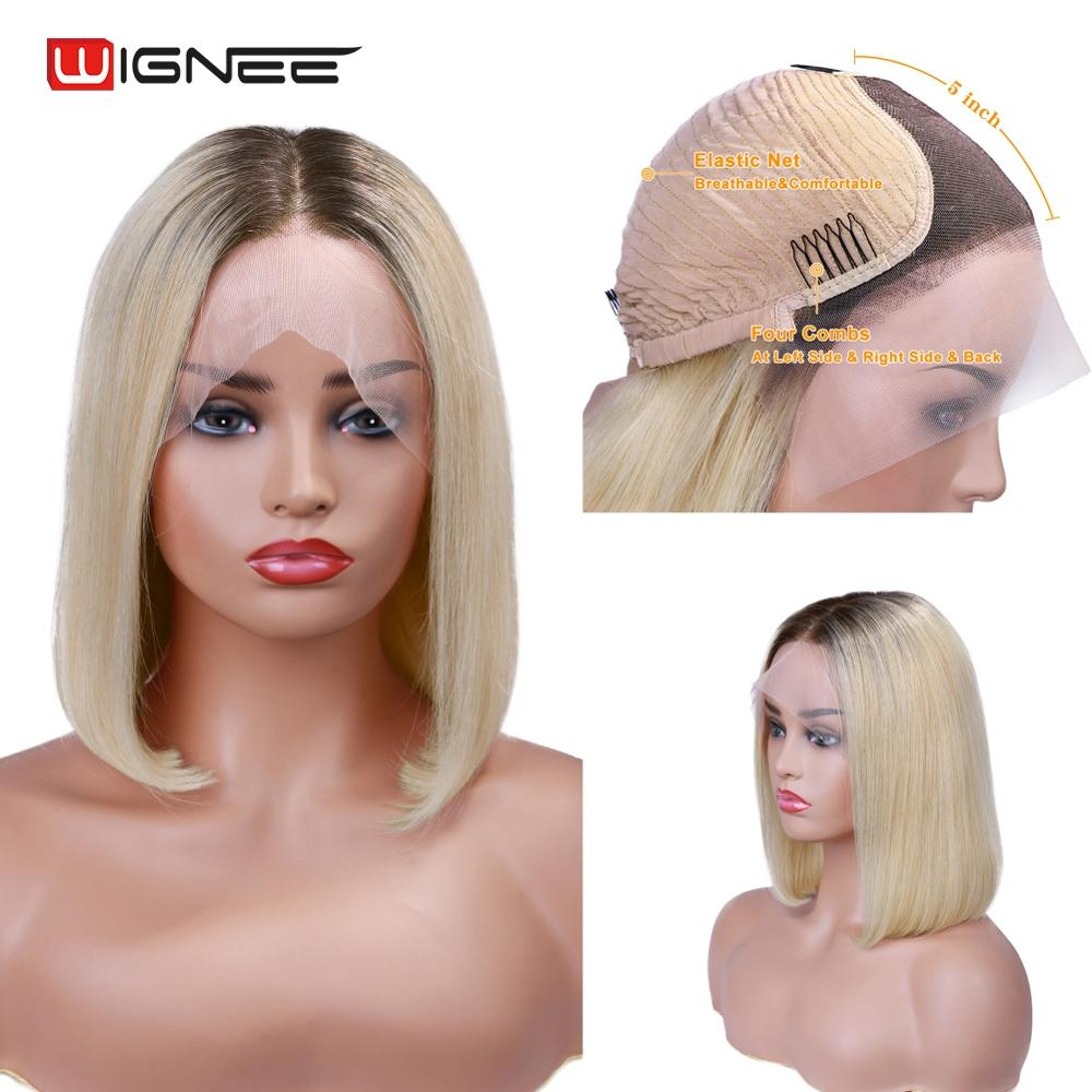 Wignee Short Straight Hair Lace Front Bob Human Wig For Black Women Ombre Blonde 613Virgin Hair150% Density Swiss Lace Human Wig