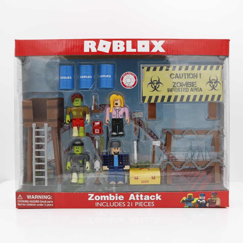Roblox Zombie Attack Playset 4pcs Pack 7cm Pvc Suite Dolls Boys