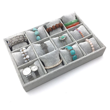 12 Slots Portable Velvet Jewelry Tray Ring Earring Insert Display Jewelry Wristwatch Bangle No Lid Flat Stackable Holder Storage