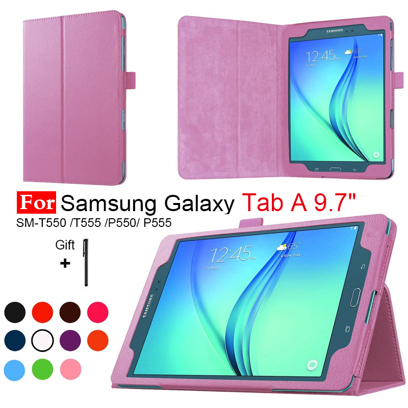 For Samsung Galaxy Tab A 9.7 T550 T555 PU Leather Stand Case Cover For Galaxy Tab A 9.7 Tablet Protector Shell+Pen