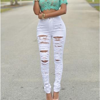 white summer women hole jeans high waist skinny jeans