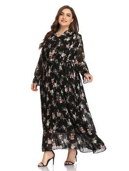 2021 Abaya longue printemps femmes ruché dames robes papillon manches Plus grande taille mode élégant Maxi Ramadan robe 1