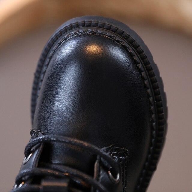 Bottes pour enfants garçons et filles haute tube à lacets imperméable unique décontracté noir rue bébé chaussures de mode printemps et automne nouveau