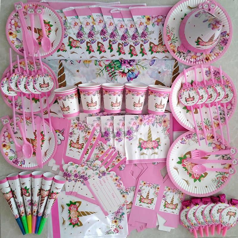 WEIGAO Unicorno Decorazione Di Compleanno di Carta Piatti Tazze Della Ragazza Festa di Compleanno della decorazione della Fascia Sash Baby Shower Photo Booth Cornice Suppl
