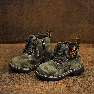 Dolakids jesień zima dzieci buty Martin buty dla chłopców i dziewcząt kamuflaż buty z miękkiej skóry podeszwy 1-16 lat