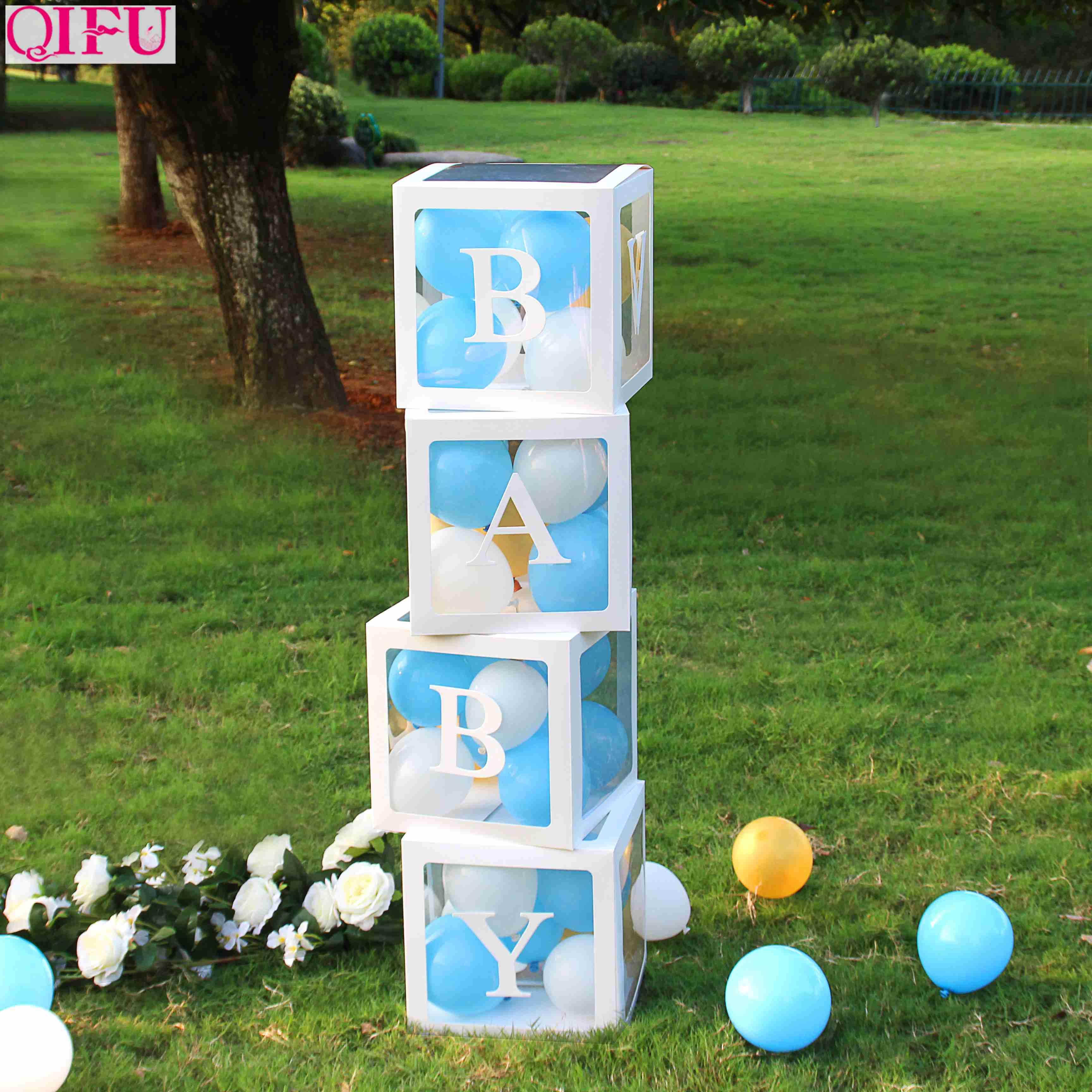 QIFU Alphabet Transparent Box Baby Shower Boy Girl Decoration Christening First Birthday Party Decor Babyshower Party Supplies