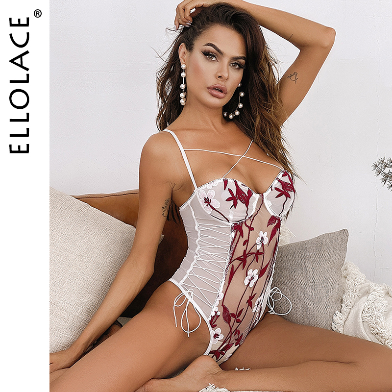 Ellolace Sexy Flower Bodysuit Women Embroidery Transparent Bodys Bodycon Bandage Bodys Sleeveless Rompers 2020 Wholesale
