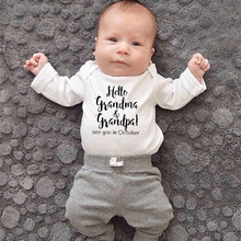 Одежда для малышей с надписью «Hello Grandma and Grandpa See You In October»; Детский комбинезон для новорожденных; комбинезон для мальчиков и девочек с надписью
