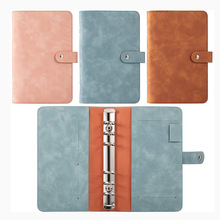 A6 PU Leather Notebook Binder Refillable 6 Ring Binder Cover for A6 Filler Paper Binder Pockets, Personal Planner Binder