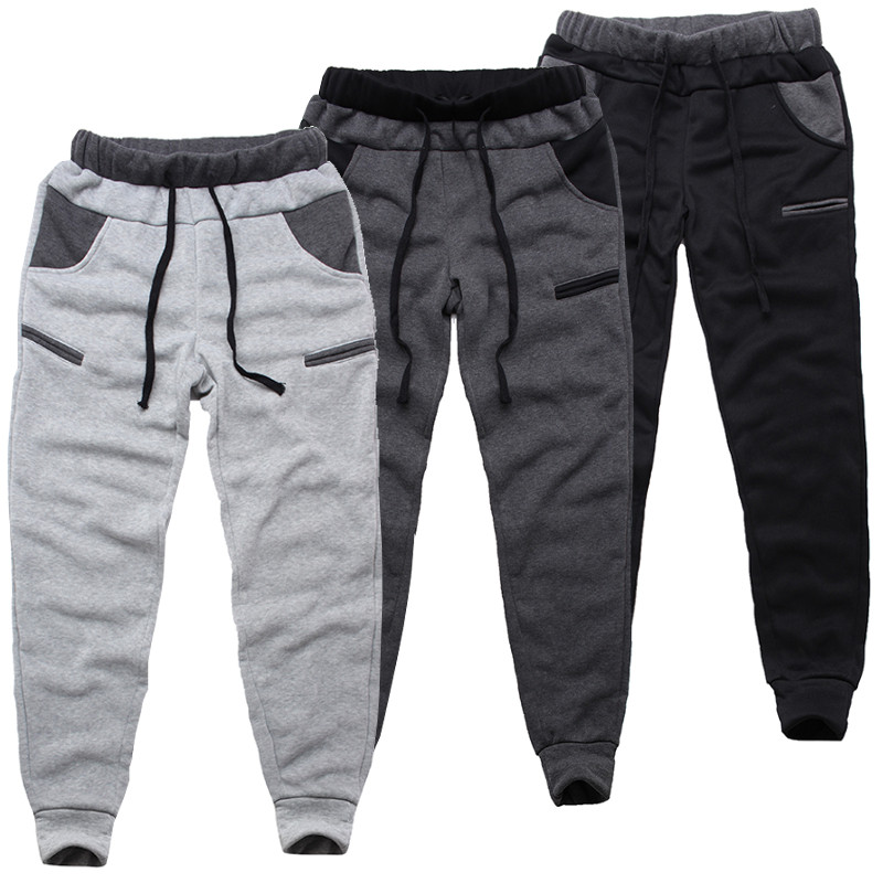 INCERUN Winter Men Pants Joggers Elastic Waist Casual Fleece Warm Trousers Men Loose Comfy Workout Tracksuit Mens Sweatpants