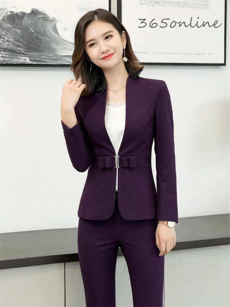 High Quality Fabric Autumn Winter Women Business Work Wear Suits OL Styles Professional Ladies Office Blazers Set Pantsuits