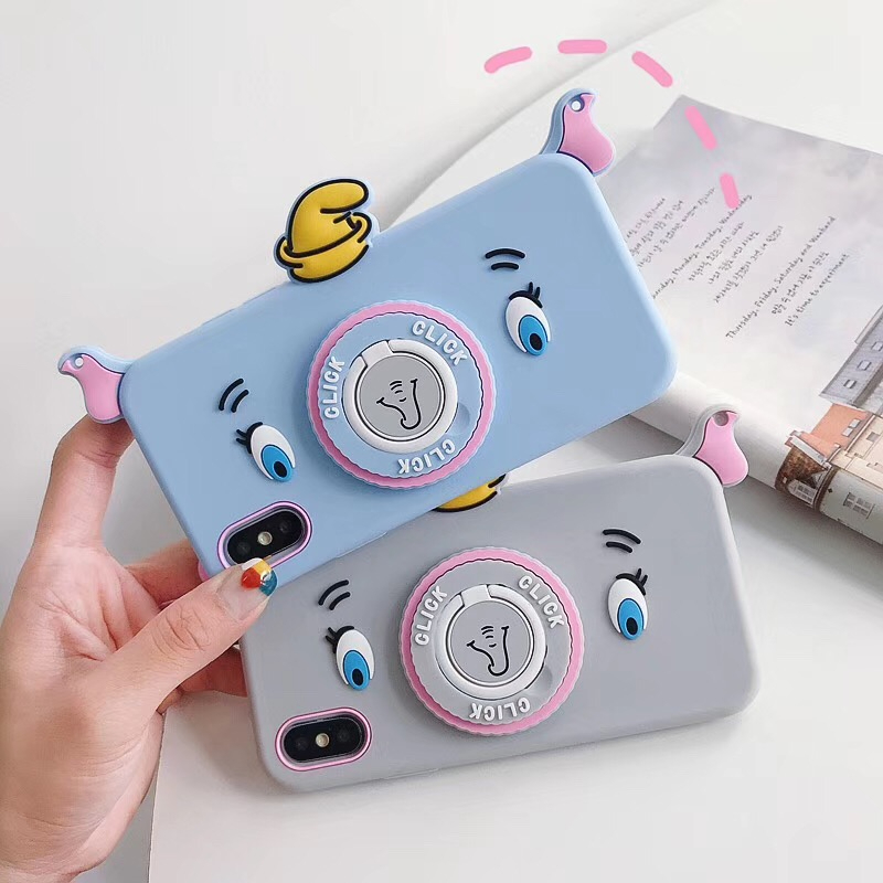 Cartoon Flying Elephant Lanyard Phone Case For iphone 7 Case XR Xs MAX 6 8plus Dumbo ring bracket Soft TPU Shoulder Strap Cover in Fitted Cases from Cellphones Telecommunications