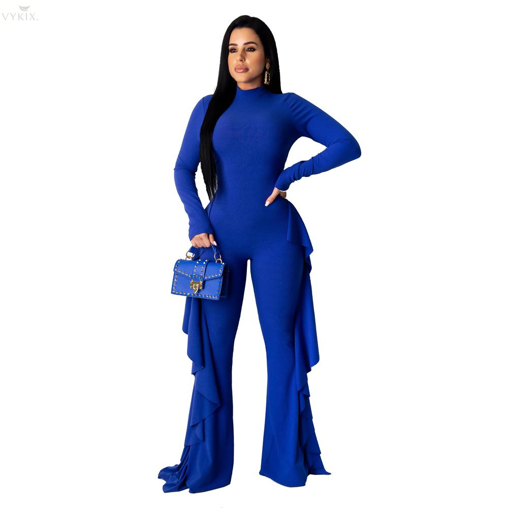Female Jumpsuit Sexy Knitted Ruffle Jumpsuit Women Wide Leg Pants Long Sleeve Backless Romper Winter Party Women Overalls
