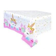 Décoration de fête d'anniversaire pour enfants, nappe en plastique à motifs de licorne, nappe, décoration pour soirée, nappe