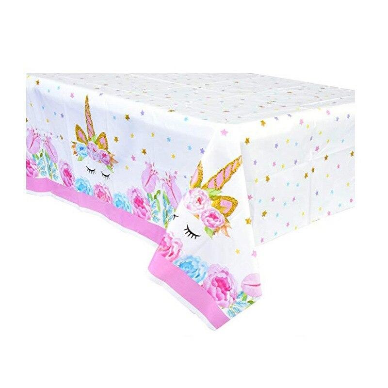 Décoration de fête danniversaire pour enfants, nappe en plastique à motifs de licorne, nappe, décoration pour soirée, nappe