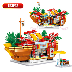 City Mini Street View Food Store Bricks Coffee Ice Cream Shop Architectures Models Building Blocks Toys For Children Gifts
