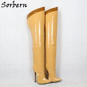 Image 5 - Sorbern 18Cm Stiletto Over The Knee Boots For Women Custom Leg Calf Size Hard Shaft Gold Ribbon Trim Mid Thigh Boot Patent Black