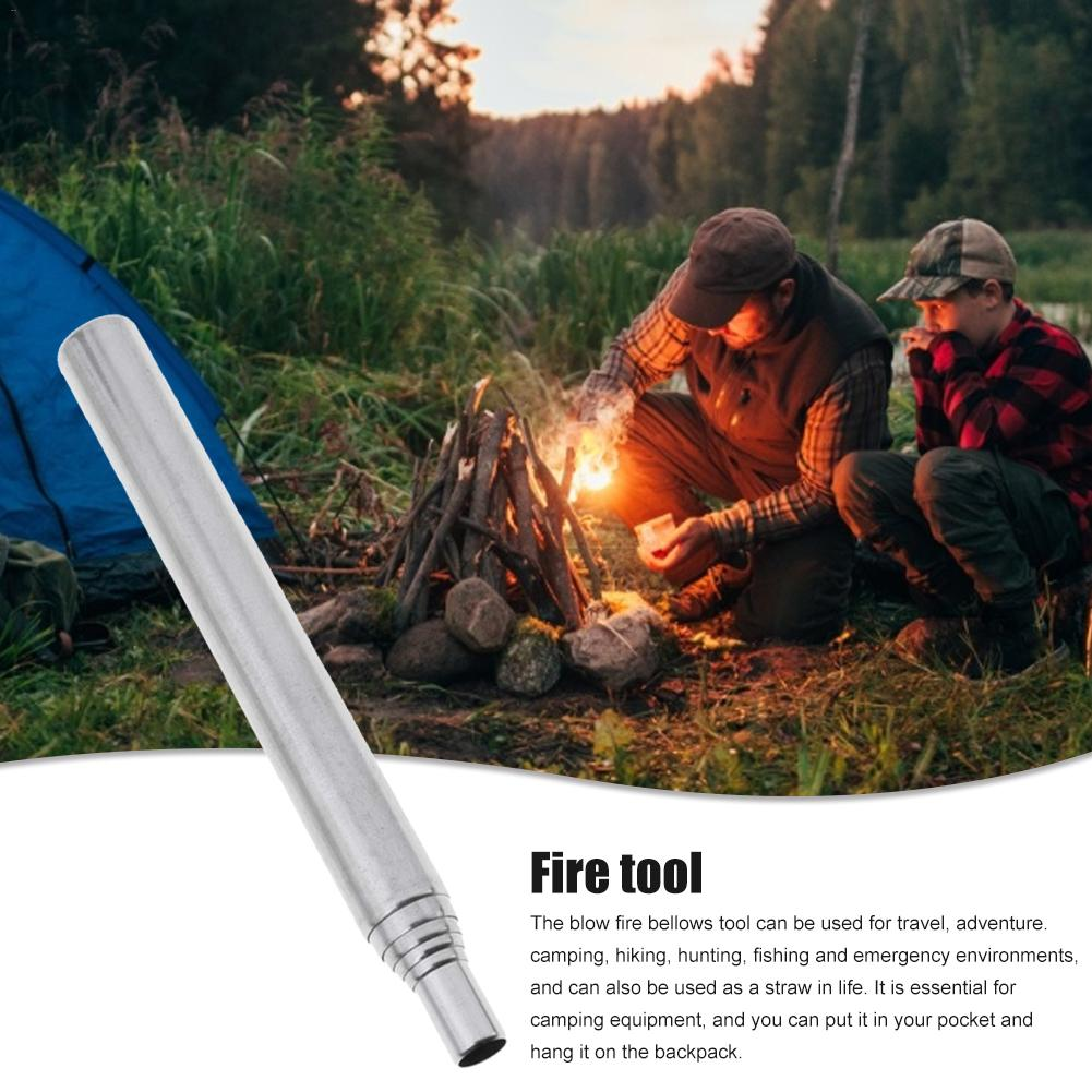 2PCS Fireplace Tools Gear Fire Bellows Collapsible Outdoor Blow Fire Tube Stainless Steel Camping Telescopic Blowing Fire Pipe
